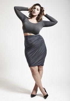Jadasezer, jada sezer, curvy model, fashion, plus size, editorial, lingerie, fashion, role model, cute, shot by nicolas padron, casual sexy, crop top, high waisted skirt, plus size fashion