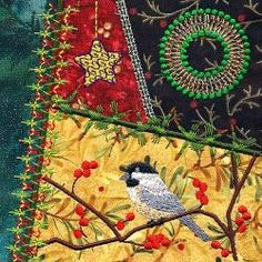 bird, christma crazi, quilt blocks, quilt idea, crazi quilt