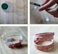 Hermosas pulseras de botellas forradas con tela | Mundo Manualidades
