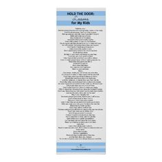 Hold the Door: Lessons for My Kids POSTER