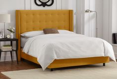 Clark Wingback Bed, Gold
