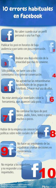 10 errores habituales en #Facebook #infografia #infographic #socialmedia