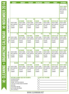 Looking for a proven, easy & effective method to get your house clean and in shape? Print out your own FREE November calendar and get started. It's easier than you think!