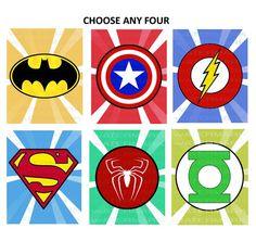 PRINTABLE Superhero Logo Wall Decor Nursery Room Superman Green Lantern Flash Batman Captain America Spiderman - DIGITAL DOWNLOAD Choose 4 via Etsy