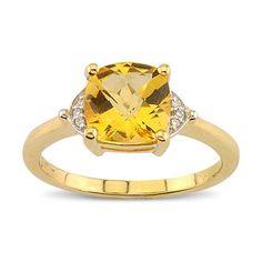 Charming Cushion Cut Citrine Diamond Gemstone Ring In 14K Yellow Gold    $365.00