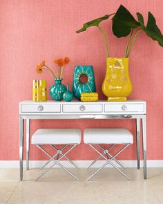 """""""Channing"""" Console & """"Rider"""" Bench by Jonathan Adler at Neiman Marcus."""