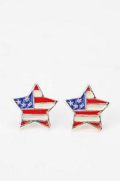 Star American Flag Earrings