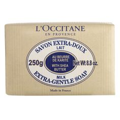 """""""My favorite soap: Shea Butter Extra Gentle Soap, huge bar that lasts forever. Also, it's made with a 100% vegetable base (no nasty chemicals). L'Occitane works directly with women's Shea-processing collectives in western Africa, supporting economic recovery--and a heritage of natural harvesting traditions."""""""
