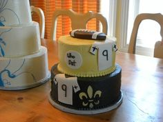 Thanks to Melinda and Abdo Chaber for sending this picture of a Groom's Cake! #Saints #NOLA #cake #GroomsCake