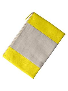 Pop of yellow! Two Tone Clutch