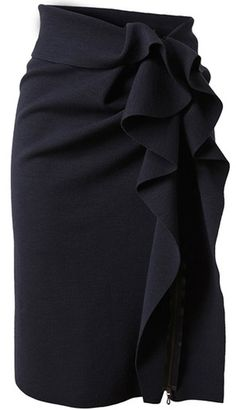 Stretch Skirt with Structured Ruffle Side