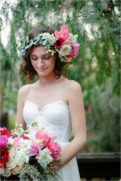 LOVE the floral crown asymmetrical style