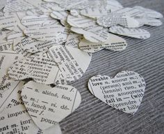 1000- Paper Heart Confetti, shabby chic wedding, wedding confetti, heart, dictionary confetti, heart confetti, biodegradable confetti on Etsy, $30.00