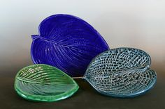 Jon Loer, white earthenware platters, Molds made from leaves in my garden, 2013