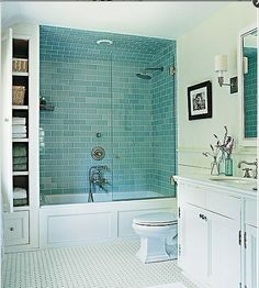 subway tile bathroom wrapped tub | ... aqua subway tile surround for a tub and shower with hinged glass door