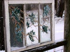 Jeanne Sammons's ivy painted window