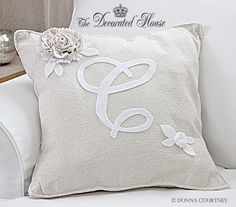 DIY - Pottery Barn Style Monogram Pillow. How to - tutorial at The Decorated House blog.