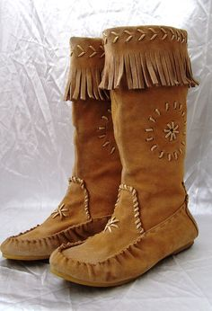 Vintage Boho Hippie Leather Suede Moccasins Boots With Fringes