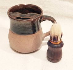 Vintage Stoneware SHAVING MUG and Wooden Brush Brown and Beige