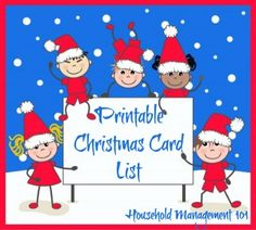 Free printable Christmas card list, so you can keep track of who you want to send cards to this season, and their addresses {on Household Management 101}
