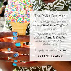 Polka-dot nail how-to from Lipstick.com and @gilt