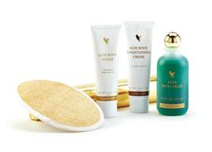 Aloe Body Toning Kit. Designed to tone, trim and tighten the skin whilst minimising the look of cellulite, the Aloe Body Toning Kit includes signature products Aloe Body Toner, Aloe Body Conditioning Creme and Aloe Bath Gelée, plus a loofah mitt and cellophane wrap