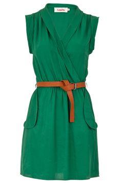 louche zaza wrap belted dress