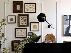 Organic art and wooden frames.