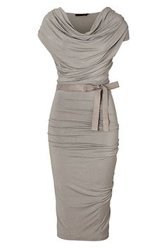 DONNA KARAN Hemp Draped Jersey Dress with Belt ....Absolutely gorgeous !  Love it