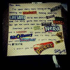 For my lovely boyfriend! A poem made with candy bar wrappers!