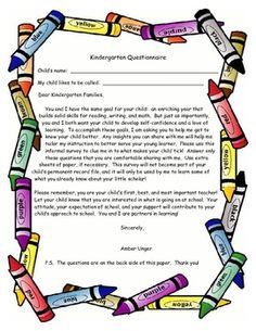 Kindergarten Questions Beginning of year