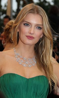 Lily Donaldson wore Chopard, white gold necklace set with diamonds and an 18ct white gold ring set with a pear-shaped diamond and diamonds at Cannes Film Festival.