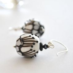 White Outline Lampwork Glass Earrings on Sterling by bstrung,