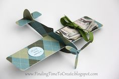 fun birthday gift idea from Kelly at Finding Time to Create using the paper airplane shape