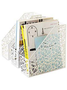 Tuck your inspiration into pretty, lacy magazine holders. #diy #crafts #getorganized