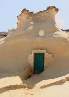 sand, green doors, gozo island, tiny houses, wooden doors