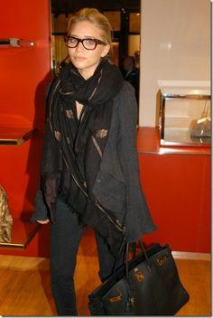 Ashley Olsen in shades of black
