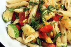 Summer's End Pasta with Tomatoes, Zucchini and Dill.