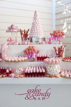 cake and dessert bar dessert tables, pink desserts, sweet bar, pink cakes, wedding treats, candi, healthy desserts, dessert bars, pink parties