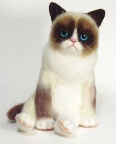 Needle Felted Toy Grumpy Cat  Tard