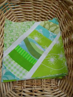 Blueberry Patch: green, white, blue string blocks