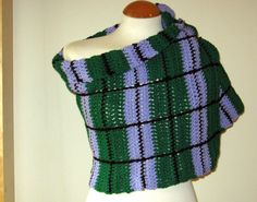 Crochet Edinburgh Wrap Stole Shawl Tartan Plaid