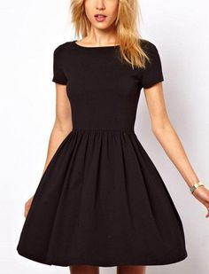 Black Pleated Short Sleeve Casual Dress Black dresses will always be in fashion. Love it❤️