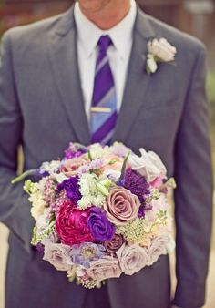 Purple tie and gray suit for the boys