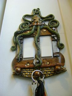 Green Octopus Steampunk Rocker style Light Switch Cover with Keychain Hanger. Animal Wall Art Sculpture Installation.