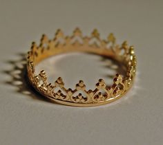 Crown Ring for princess 14ct gold custom size Band  Metal  Metalwork A. $139.99, via Etsy.