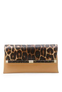 440 Envelope Printed Leather Clutch In Sandalwood/ Leopard