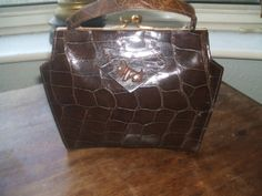 amazing English crocodile 1930s bag with bakelite scotty dog ive had this in my collection for ages i love the shape and the pooch