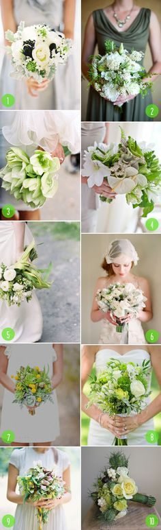 top 10: mostly green bouquets