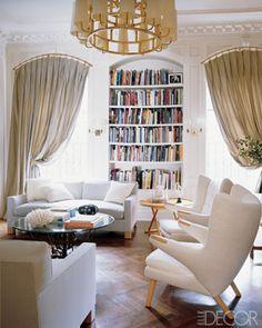 decor, books, home libraries, floor, curtain rods, window treatment, librari idea, arch window, book dream